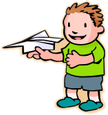 child with paper aeroplane